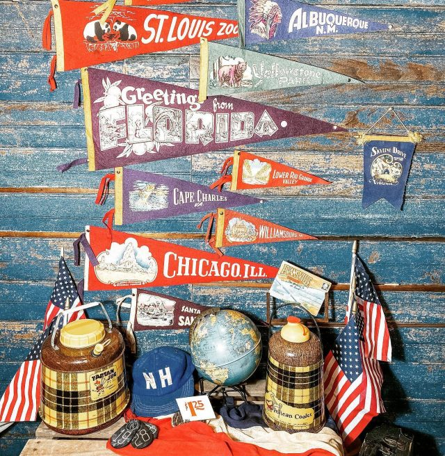 Who else has been traveling down memory lane to all the great places they've traveled? 🙋‍♀️ 🇺🇸 🚩As memories of year's past pop up on our phones, Jeff and I often reflect back on our travels & what we bought. 🇺🇸 🚩Anyone else collect vintage travel? This is in my office & I love everything about buying & selling vintage souvenirs! The places, the colors! 🇺🇸 🚩I'm very grateful for the memories & happy to share this space in my office for week 9 of Virtual Vintage Hunt. Yes it's all for sale! I'm hoping to get it listed soon, until then you can message me ~ 🇺🇸 Post your hunt, use the hashtag & follow the hosts tagged to be featured! Let's all travel w our memories & souvenirs! 🇺🇸 . . . #virtualvintagehunt  #myvintageviews  #firehouseantiques  #antiquelife  #vintagetravel  #historymeetsdecor  #showusyourvintage  #shopmysquare  #vintagethermos  #shopsmall  #visitnewharmony  #visitnewharmonyindiana  #indianaantiques  #favoritecollectionsfriday  #fleamarkethomeandliving  #followmetojunk  #antiquingadventures  #visitposeycounty  #visionsofvintage_  #mycollectedhome  #fleamarketstylemagazine  #cottagedecorating  #etsysellersofinstagram