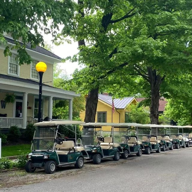 Golf Carts are the primary mode of transportation for those who live in New Harmony. On your next visit consider renting a golf cart and join the fun. #VisitNewHarmony #ExperienceNewHarmony