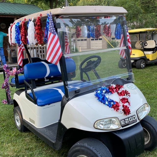 Happy Fourth of July! 🇺🇸 Did you know New Harmony has a golf cart parade every 4th of July? We do! It starts at 11am & comes down Main Street right in front of our antique shop! This is my mom's cart! Watch our stories today to see more if you cannot be here w us! I would have posted our cart but we didn't get done last night until after dark😎 🇺🇸  #visitnewharmony #golfcartparade  #smalltownlife  #firehouseantiques #fourthofjuly  #fourthofjulyparade  #newharmonyindiana  #visitindiana