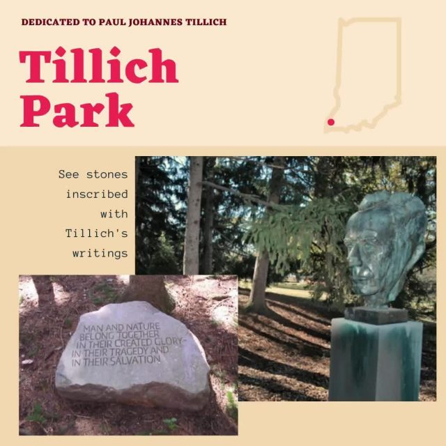 Tillich Park commemorates the renowned Paul Johannes Tillich, a German-American theologian and Christian existentialist philosopher. Located just across North Main Street from the Roofless Church, the park consists of a stand of evergreens on elevated ground surrounding a walkway. #VisitNewHarmony #ExperienceNewHarmony