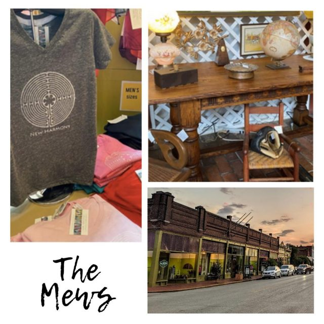 "The Mews is all about ""the mix"" with eleven shops in one! They sell lots of things from good old antique furniture to books to women's apparel and accessories to garden iron and food. #VisitNewHarmony #ShopNewHarmony"