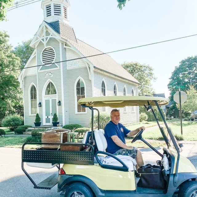 Happy Sunday from New Harmony, Indiana!  ⛪️  I snapped this quick photo of my husband Jeff during town wide yard sale shopping this weekend. We found several fun pieces & even sold a few.  ⛪️ Fun Fact~The church in the background has been a residence for many years! Isn't it beautiful!  ⛪️ #townwideyardsaleday  #golfcartlife  #visitnewharmony #pickin  #pickerslife  #visionsofvintage_  #lootshoot  #visitposeycounty  #newharmonyindiana #historicpreservation  #historicchurchesofinstagram  #antiquepicker  #antiquelife #indianaantiquetrail  #antiqueshopping