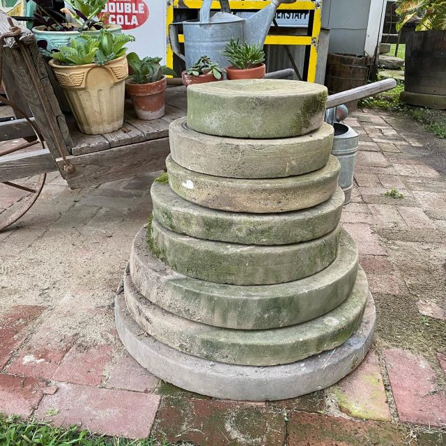 Stack em up! It's always amazing when you find & buy collections, especially when it's grinding stones! What's your favorite collection to find? Let me know in the comments below.  . .  #firehouseantiques #vintagehappyhome  #collectedhome #thriftandtell  #myvintagetoucheshome #myvintageviews #etsyvintageseller  #favoritecollectionsfriday  #farmhousevibes #farmhouseinspo #visionsofvintage  #antiquedisplay #historymeetsdecor  #outdoordecor  #blameitonmyvintageheart #Followmetojunk #architecturalsalvage #shopsmall #myantiquedhome #gardenantiques  #showandtellvintagefinds #creativevintagedarlings #pickerslife #farmfinds  #indianabarns #visitnewharmony #grindingstone  #salvaged