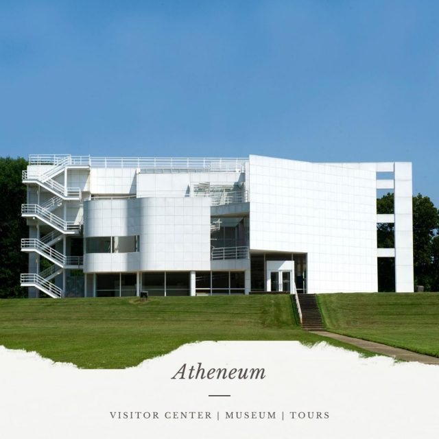 The gleaming white porcelain tile-covered building that connects New Harmony's past and future is Historic New Harmony's Atheneum.  Serving as the welcome center, it houses visitor information, a Museum Shop, and is the starting point for their guided tours of historic structures.  Begin your visit to New Harmony at the Atheneum!  #VisitNewHarmony #VisitStayLearnNewHarmony #NewHarmonyHistory