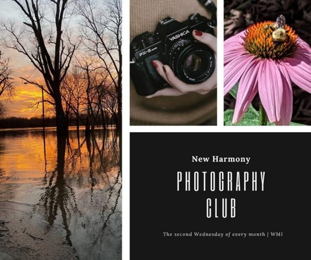 The New Harmony Photography Club is a group that is interested in all types and levels of amateur photography. The Club meets at the Working Man's Institute on the second Wednesday of each month from 6-7:00 p.m. #VisitNewHarmony #NewHarmonyArt