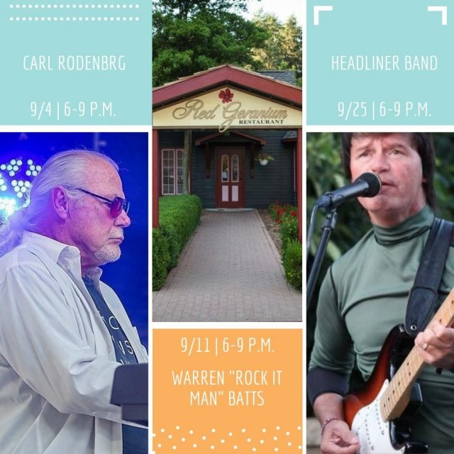 Join us Fridays at Red Geranium Restaurant from 6-9 p.m. for Patio Jams! There is no cover charge and food and drink menu selections will be available for purchase. Come relax and have a good time! #VisitNewHarmony #DineNewHarmony