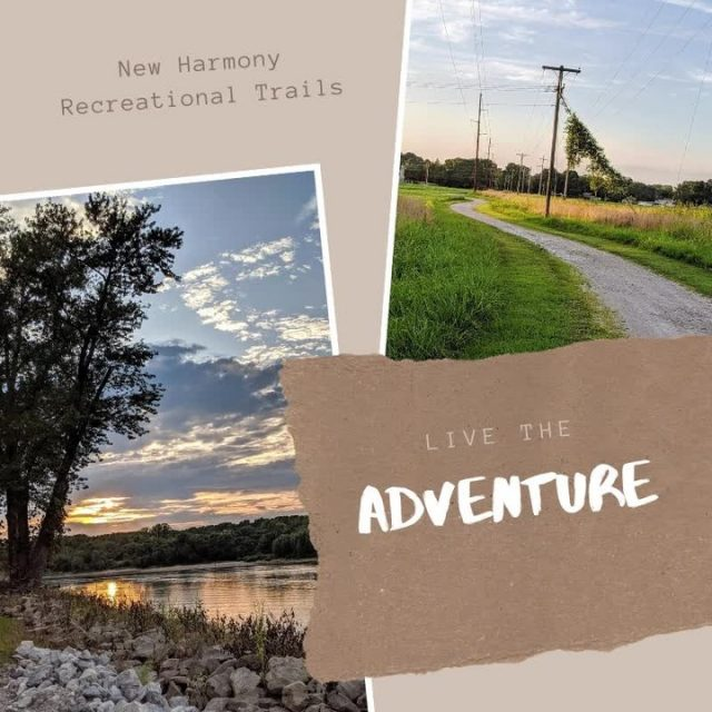 The town of New Harmony maintains several miles of riverfront and wooded gravel trails are open to walkers, hikers, bikers, and golf carts from dawn to dusk. #VisitNewHarmony #ExploreNewHarmony