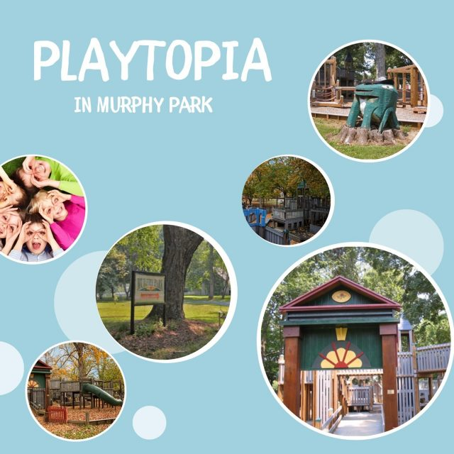 Playtopia in Murphy Park is open free to the public from dawn till dusk. There are play areas designed for children of all ages including a fenced 'tot lot' for two to four-year-olds featuring a kid-sized New Harmony Main Street and ADA accessible features. #VisitNewHarmony #FunInPlaytopia