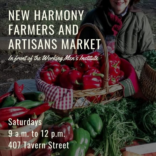 At the New Harmony Farmers and Artisans Market, you can purchase fresh – often organically produced – produce, meat, and eggs, along with a wide variety of baked goods, arts and crafts produced locally. Come shop and get social on Saturday mornings from 9 a.m. to 12 p.m. at 407 Tavern Street! #VisitNewHarmony #ShopNewHarmony