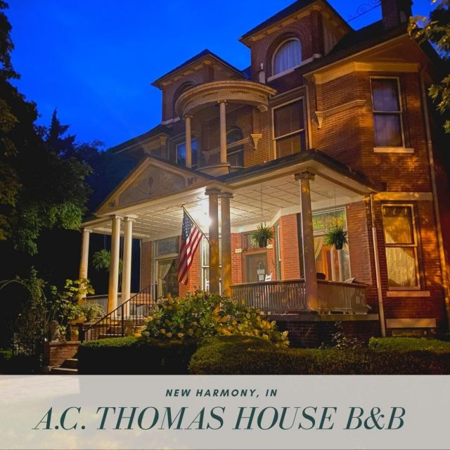 Time for a change of scenery?  Come relax (or work remotely!) at the glorious A.C. Thomas House B&B in New Harmony.  Unwind on the porch. Enjoy our spacious common areas, comfy beds, and delicious breakfasts.  Explore the walkable, historic town as Fall color arrives from this centrally located, fully restored Victorian Mansion. #VisitNewHarmony #NewHarmonyUptopia