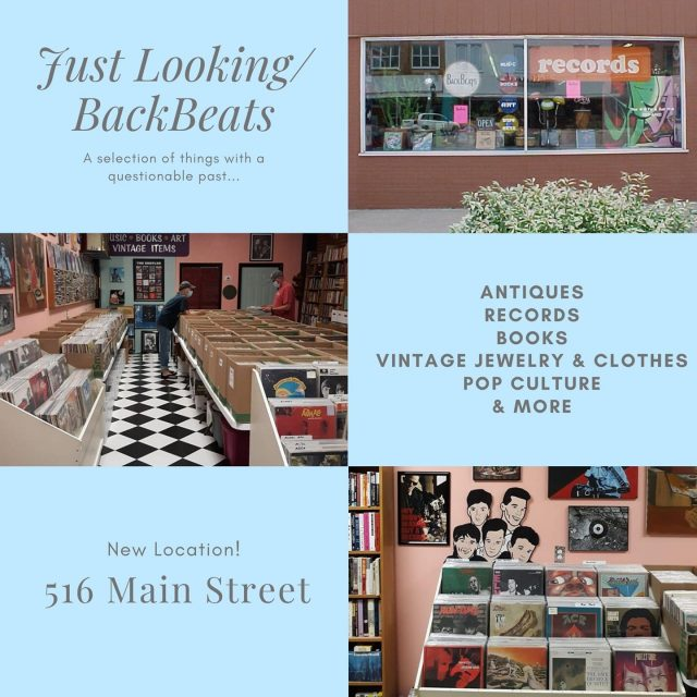 Just Looking/BackBeats has a selection of things with a questionable past...Antiques, Records, Books, Vintage Jewelry & Clothing, Pop Culture, and more. #VisitNewHarmony #ShopNewHarmony