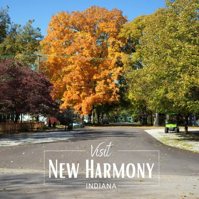 Come spend a perfect Fall day (or longer!) in Utopia.  Walk the quiet streets of New Harmony and enjoy brilliant color all around town and in the many public gardens and spaces.  Enjoy a leisurely meal and indulge in some retail therapy.  #VisitNewHarmony #FunInUtopia