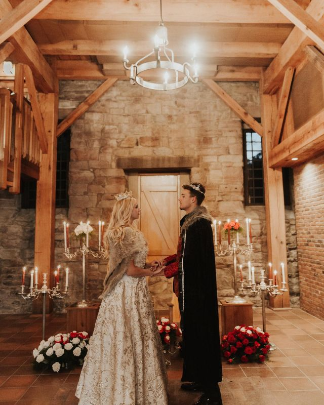We don't know of any venue that looks more beautiful in candlelight than the Rapp-Owen Granary in New Harmony, IN. With its stone walls, hand-hewn rafters and historic appeal, this venue will transport you. Call Chris Laughbaum at 812-449-6839 to set up your tour.  Photo by emileekernerphotography