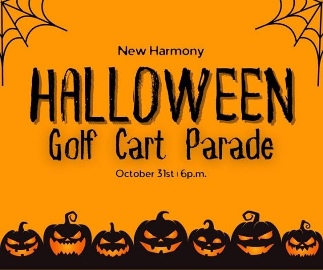 Join us in New Harmony for a Halloween Golf Cart Parade! Come in costume to watch - or ride. Decorate up your golf cart, light it up, and join the fun! #VisitNewHarmony #CelebrateInNewHarmony #OnlyInNewHarmony