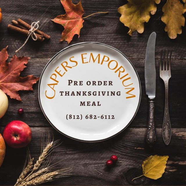 Capers Emporium is helping take the stress of cooking Thanksgiving dinner off your plate. Pre Order a Thanksgiving meal from Capers Emporium today! (812) 682-6112. Deadline to order is November 22nd at 10 a.m. https://prettyfood.com/capers/pre-order-thanksgiving-food-from-capers/ #VisitNewHarmony #OnlyInNewHarmony #Thanksgiving #CapersEmporium