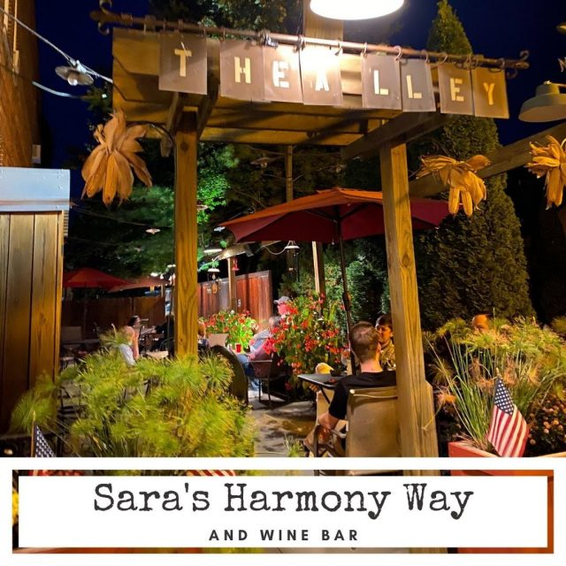 "Sara's Harmony Way and Wine Bar has outdoor seating in ""The Alley."" Complete with comfy chairs and a mesmerizing fire pit, it's an ideal Fall gathering spot.  Order your food and drink inside, then dine and relax as you watch the happenings in historic New Harmony.  #VisitNewHarmony #DineNewHarmony #OnlyinNewHarmony"