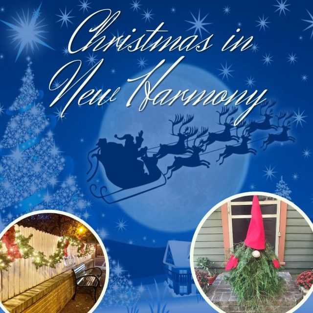 Christmas in New Harmony is just like the winter wonderland from your favorite Christmas movie. Join us throughout December for Christmas In New Harmony for holiday shopping, beautiful Christmas decorations, and fun Christmas activities! #VisitNewHarmony #ChristmasinNewHarmony #OnlyInNewHarmony #SmallTownChristmas