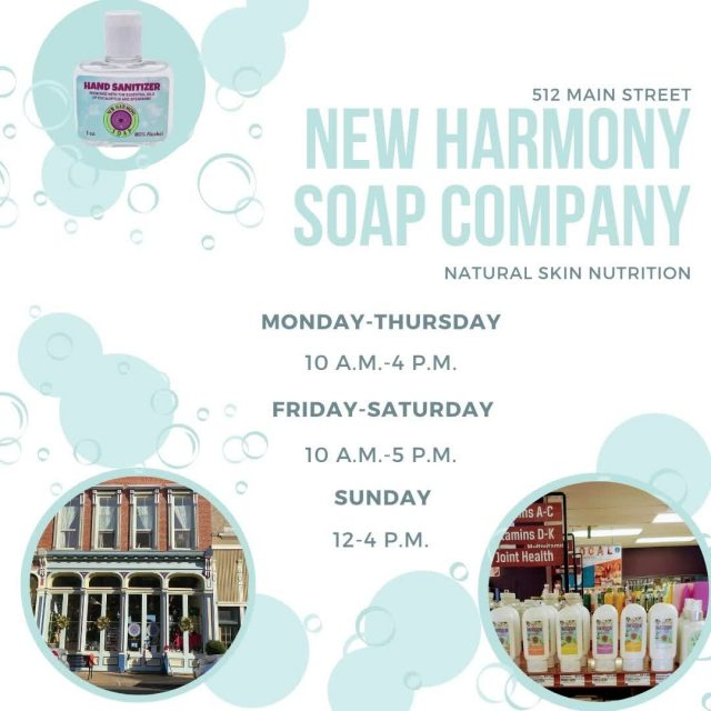 Give the gift of natural skin nutrition this Christmas. The New Harmony Soap Company is committed to creating innovative, whole, natural soaps and skin health products. They make more than just soap. They also make room sprays, body wash, bath bombs, roll-ons, lotions, and more! #VisitNewHarmony #NewHarmonySoap #ShopNewHarmony #OnlyInNewHarmony #ChristmasinNewHarmony #SmallTownChristmas