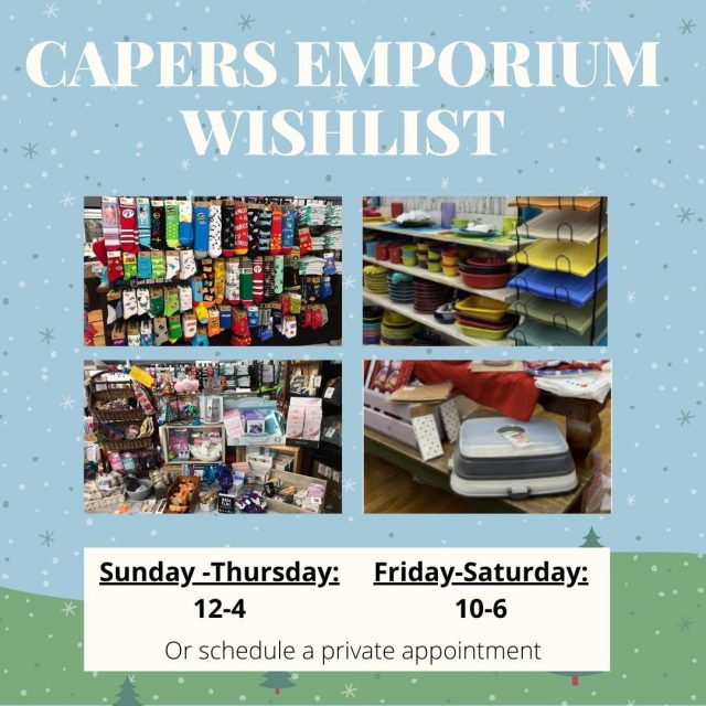 "Capers Emporium is a shopping nirvana.  Staying at home these days?  Visit the Capers Facebook page to watch ""Sit Back and Shop"" segments to get great ideas for everyone on your gift list, then  arrange for curbside pickup or delivery. #VisitNewHarmony #ShopNewHarmony #CapersEmporium #OnlyInNewHarmony #ChristmasinNewHarmony #SmallTownChristmas"
