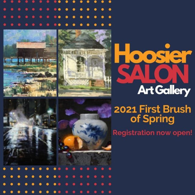 Hoosier Art Salon announces registration is now open for the 2021 First Brush of Spring Workshops!  Five incredible painters will conduct the sessions from April 13 to April 22, 2021.  Enrollment is limited, so register early! #VisitNewHarmony #NewHarmonyArt #OnlyinNewHarmony #FirstBrushofSpring