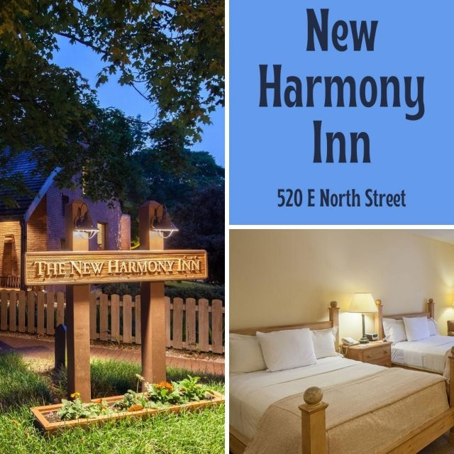 Plan a weekend getaway in New Harmony and stay at the New Harmony Inn. This unique resort features superb King, queen, double, and single beds with Harmonist decor, surrounded by beautifully groomed landscape, lakes, and gardens. It is also home of the Red Geranium Restaurant. #VisitNewHarmony #OnlyInNewHarmony #NewHarmonyInn