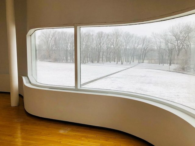 Notice anything missing from in front of the window? 😉 #visitnewharmony #utopia #winterwonderland