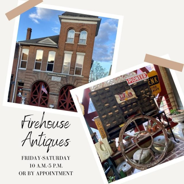 Firehouse Antiques is located in New Harmony's historic firehouse. Check in to all of the unique American antiques, quilts, jewelry, and more! Firehouse Antiques is open Friday and Saturday 10-5 or by appointment. #VisitNewHarmony #ShopLocalinNewHarmony #FirehouseAntiques #OnlyinNewHarmony