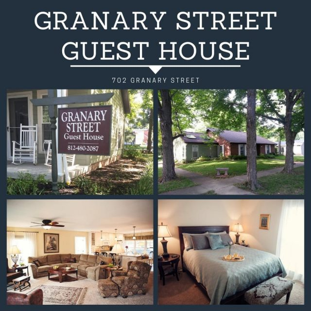 Plan your next stay in New Harmony at the Granary Street Guest House! This charming guest house in the heart of town features a modern, open floorplan, 2 full baths, and sleeping accommodations for 10. #VisitNewHarmony #GranaryStreetGuestHouse #OnlyinNewHarmony