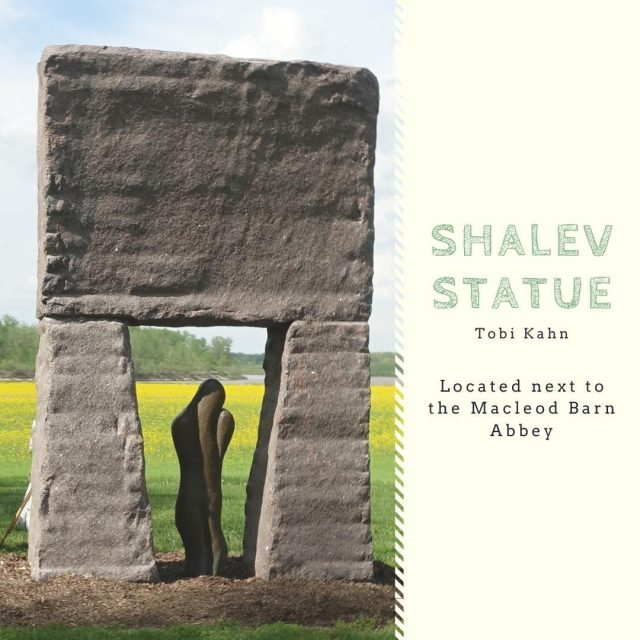 Shalev comes from the combination of two words: sha, meaning peace; and lev, meaning heart. Many people have found a romantic aspect to the work and have been married in front of the piece. The Shalev Statue is located next to the Macleod Barn Abbey. #VisitNewHarmony #NewHarmonyArt #OnlyinNewHarmony