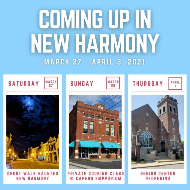 Take a look at what is coming up in New Harmony this coming week!   For more information on these events, visit our website by clicking the link in our bio!   #VisitNewHarmony #OnlyinNewHarmony