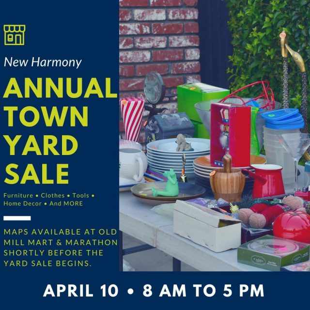 Did you clean out closets and cupboards and decide to get rid of furniture, clothes, home decor, tools and more during the pandemic? Participate in the Annual New Harmony Town Wide Yard Sale and turn your cast offs into cash! To participate as a seller, go to the Old Mill Mart and grab a sign-up sheet, then return it by April 7, 2021, so you'll be on the map. To shop the sales set up all over town, get a copy of the map to plot your course. Maps will be available at Old Mill Mart & Marathon shortly before the yard sale begins. #VisitNewHarmony #NewHarmonyYardSale #OnlyinNewHarmony