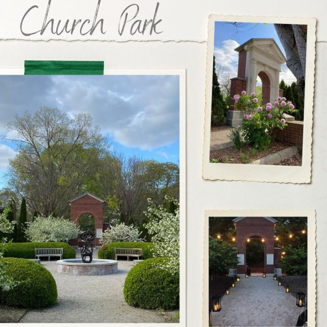 Church Park is a formal, outdoor garden located in the center of the town. A fountain by noted sculptor Don Gummer sits in the middle of the park as you enter through a re-creation of the Door of Promise, which welcomed Harmonists to their large brick church originally located on this site. #VisitNewHarmony #NewHarmonyParks #NewHarmonyEvents #OnlyinNewHarmony