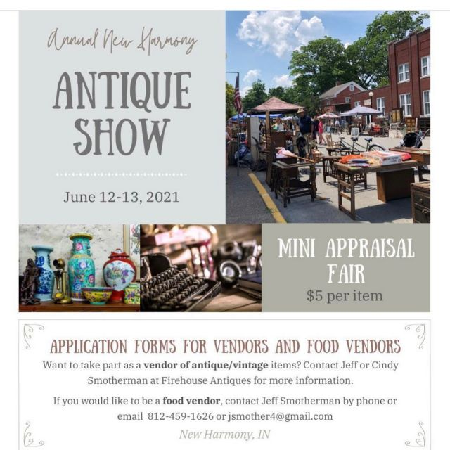 It's happening! Saturday June 12 9-5 & Sunday June 13 9-4 on Main Street downtown New Harmony, Indiana ~ Rain or Shine, Free Admission! Appraisal Fair both days ~ $5 per item.  Dealer Spots available ~ Visit New Harmony website- June events or message me.  ✨ ✨ ✨ #visitnewharmony  #visitnewharmonyindiana  #firehouseantiques #antiquemarkets  #antiquing  #visitposeycounty  #historictowns  #antiquesforsale  #annualevents  #newharmonyindiana  #visitindiana #smalltowns  #vintagemarketdays  #antiquefurniture  #newharmonyantiqueshow