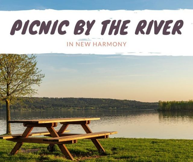 The banks of the Wabash River is a beautiful place for an afternoon or evening picnic! There are tables and benches riverside in several locations to enjoy a sunset view and wildlife watching along New Harmony's recreation trails. #VisitNewHarmony #ExploreNewHarmony #OnlyinNewHarmony