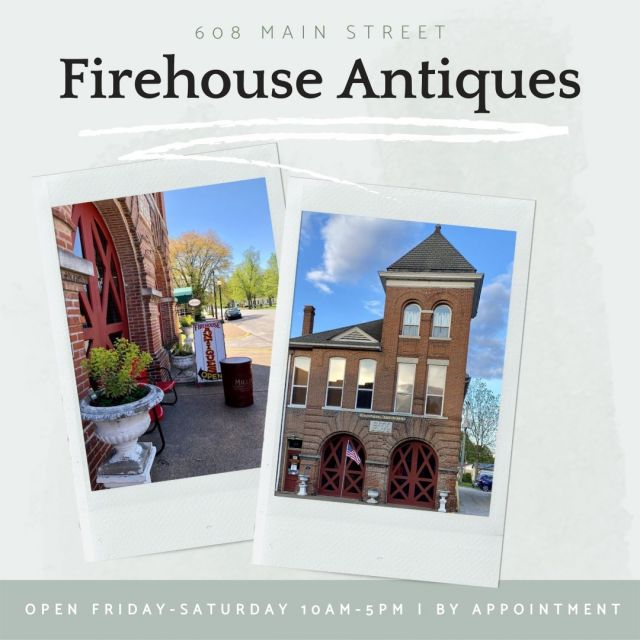 Located in New Harmony's historic 1899 Firehouse, Firehouse Antiques specializes in vintage signs. They also have an assortment of antiques. Stop by Friday or Saturday 10am to 5pm or call to make an appointment! #VisitNewHarmony #FirehouseAntiques #ShopLocal #OnlyinNewHarmony