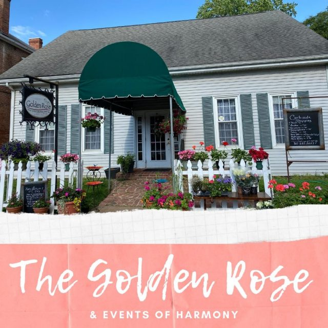 The Golden Rose is a floral and gift shop offering fresh and silk arrangements for any occasion, gourmet chocolates, 3 Chicks Fudgery, and handmade woodworking decor. The uniquely beautiful flower arrangements made by The Golden Rose are made to suit the personality of the recipient and the occasion. #VisitNewHarmony #ShopNewHarmony