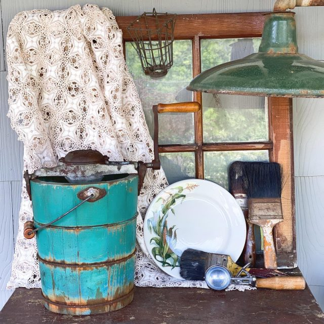 "Whose ready for homemade ice cream? 🍨 . I am and just in time! We bought this antique White Mountain Ice Cream Freezer just last week here in our little town & I was waiting for the perfect time to share it! Thanks #virtualvintagehunt for the opportunity to share! . I'm dying to try it! Anyone else still use the old crank ice cream makers? Last time I did we had several of us churning for an hour! Fun memories! . I realized something this week. We don't have to have every single item. I believe the item list is so everyone has a chance to participate. 😍 If you haven't participated yet, I want to encourage you to join us!  We don't have to do everything perfect, just perfectly ""be ourselves!"" . . . #virtualvintagehunt  #vintageheartandhome  #mycollectedhome  #Lootshoot #followmetojunk  #vintagevignettes  #thecottagejournal  #vintagehappyhome #etsysellsvintage #collectedhome #thriftandtell #myvintagetoucheshome #etsyshop  #chippypaint  #architecturalsalvage  #antiqueshop  #newharmonyindiana  #visitnewharmony  #indianaantiqueshops  #homegirlslovehomedecor  #collectandstyle #firehouseantiques #springdecor  #fleamarketstylemagazine  #howivintage  #antiquefarmhouse"